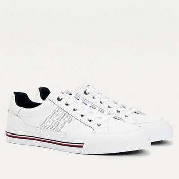TOMMY HILFIGER Sneakers Core Corporate Line – White Leather Sneakers For Men