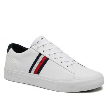 TOMMY HILFIGER Corporate Line – White Leather Sneakers For Men