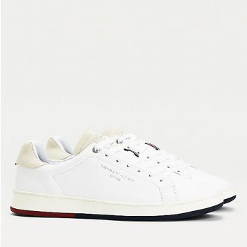 TOMMY HILFIGER Retro Tennis Line – White Leather Sneakers