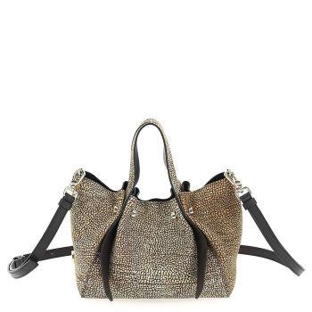 BORBONESE Aspen Bag Line – Natural Black Suede Bucket Bag