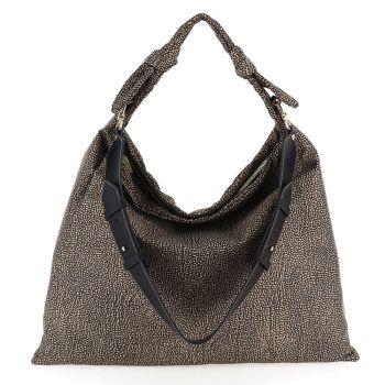 BORBONESE Desert Line – Jet OP Canvas Maxi Natural Black Hobo Bag With Shoulder Strap