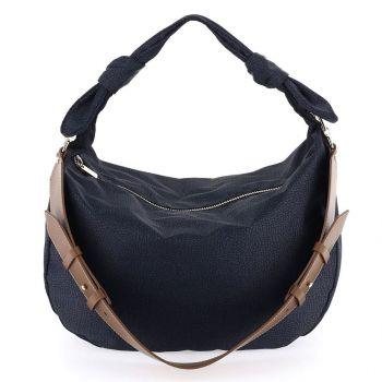 BORBONESE Desert Line – Jet OP Black and Brown Fabric Hobo Bag