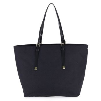 BORBONESE Jet Op Line –  Medium Black Fabric Tote Bag with Leather Details