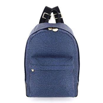 BORBONESE Jet Op Line – Medium Black and Blue Fabric Backpack
