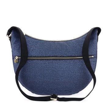 BORBONESE Jet Op Middle Line – Blue and Black Fabric Luna Bag with Shoulder Strap