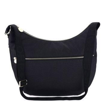 BORBONESE Jet Op Line – Blue Fabric Luna Bag with Shoulder Strap