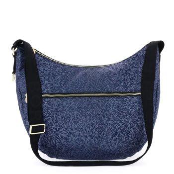 BORBONESE Jet Op Line – Medium Black Fabric Luna Bag with Shoulder Strap
