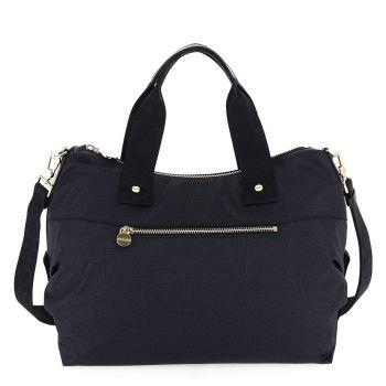 BORBONESE Jet Op Line – Medium Black Fabric Handle Bag