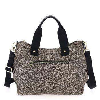 BORBONESE Jet Op Line – Medium Natural Black Fabric Handle Bag