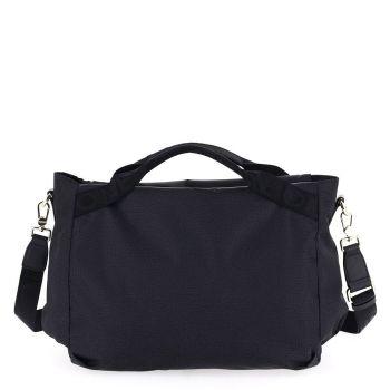 BORBONESE Jet Op Line – Medium Black Fabric Handle Bag with Shoulder Strap