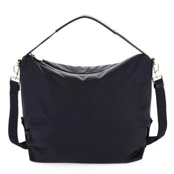 BORBONESE Jet Op Line – Black Fabric Shoulder Bag