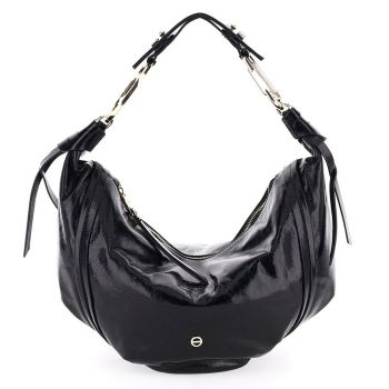 BORBONESE Orbit Line – Medium Shiny Black Leather Hobo Bag
