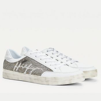 TOMMY HILFIGER White Leather Sneakers With Sequins
