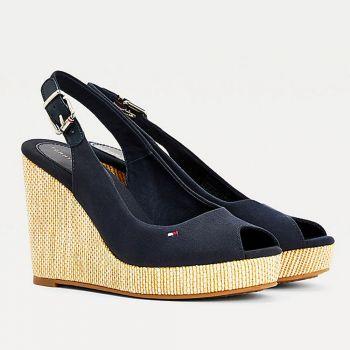TOMMY HILFIGER Iconic Elena Line – Blue High Wedge Slingback Sandals
