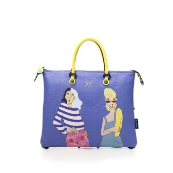 GABS G3 Super Line Medium Leather Handle Bag with Be Yourself Print