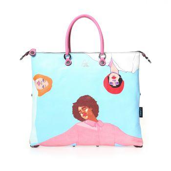 GABS G3 Super Line Medium Leather Handle Bag with Ring Around the Rosie Print