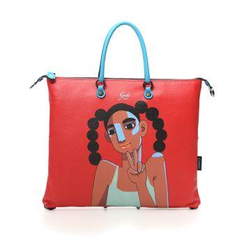 GABS G3 Super Line Medium Leather Handle Bag with Peace Print