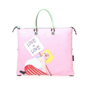 GABS G3 Super Line Medium Leather Handle Bag with Love is Love Print