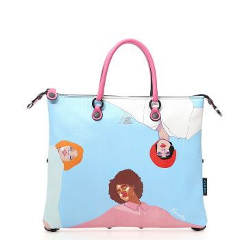 GABS G3 Super Line Large Leather Handle Bag with Ring Around the Rosie Print