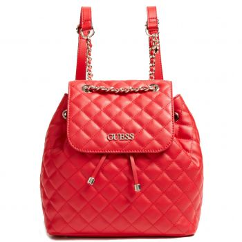 GUESS Illy Line – Red Faux Leather Backpack