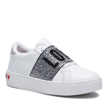 LOVE MOSCHINO Crystal Band Line – White Leather Sneakers