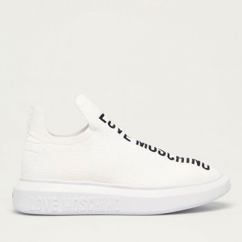 LOVE MOSCHINO White Fabric Low Sock Sneakers with Embroidered Logo
