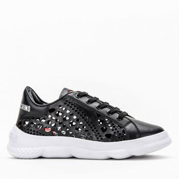 LOVE MOSCHINO Black Heart Perforated Sneakers for Women
