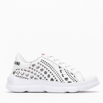 LOVE MOSCHINO White Heart Perforated Sneakers for Women