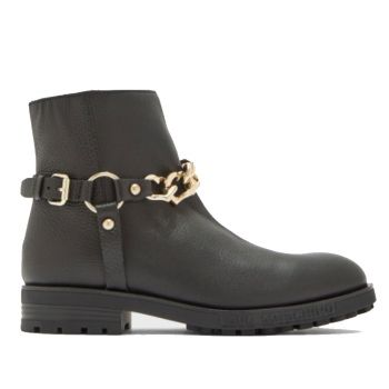 LOVE MOSCHINO Black Leather Ankle Boots With Golden Hearth Chains
