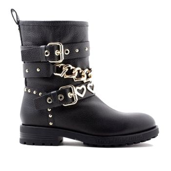 LOVE MOSCHINO Black Leather Biker Boots with Golden Studs and Chains