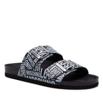 LOVE MOSCHINO Black Leather Sliders with White Logo