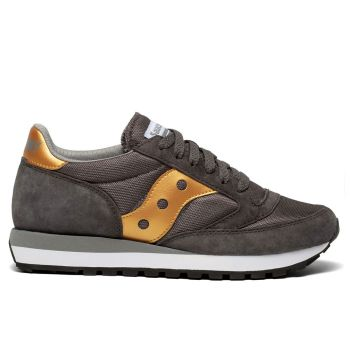 Saucony Jazz 81 Line – Grey - Gold Leather Fabric Sneakers
