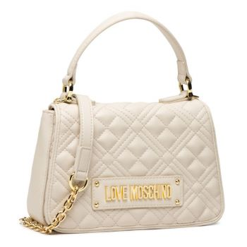LOVE MOSCHINO Ivory Faux Leather Handle Bag with Quilted Effect