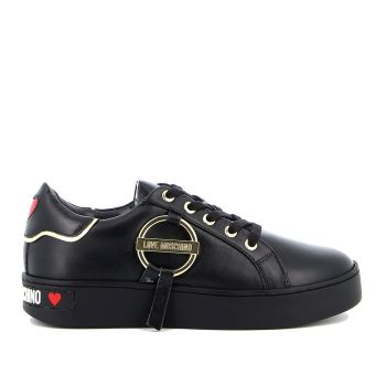 LOVE MOSCHINO Round Buckle Line – Black Leather Sneakers