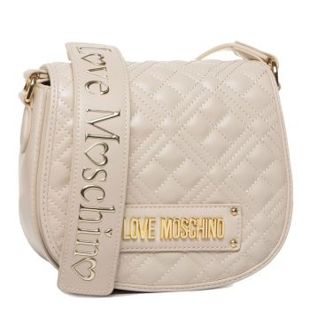 LOVE MOSCHINO Quilted Line - Ivory Quilted Effect Crossbody Bag with Flap