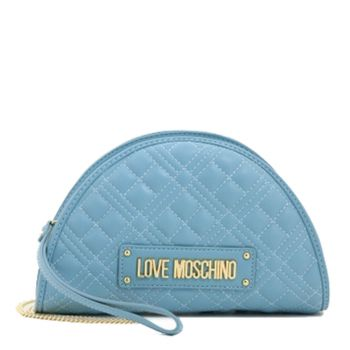 LOVE MOSCHINO New Shiny Line – Light Blue Clutch with Quilted Effect