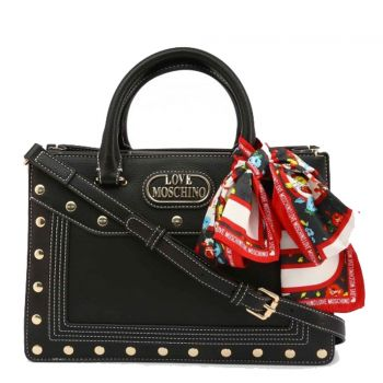 LOVE MOSCHINO Black Handle Bag with Studs and Foulard