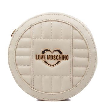 LOVE MOSCHINO Ivory Round Shoulder Bag with Quilted Effect