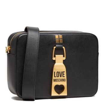 LOVE MOSCHINO Black Shoulder Bag with Maxi Zip Fastening