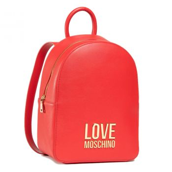LOVE MOSCHINO Gold Metal Line – Red Backpack with LM Logo JC4109