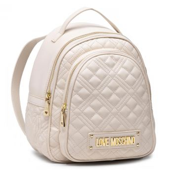 LOVE MOSCHINO New Shiny Quilted Line – Ivory Backpack