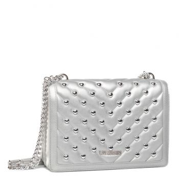 LOVE MOSCHINO Silver Shoulder Bag with Heart Studs