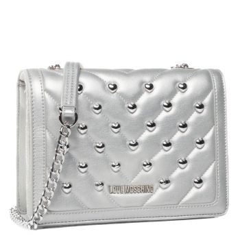LOVE MOSCHINO - Silver Shoulder Bag with Silver Heart Studs