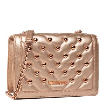 LOVE MOSCHINO - Salmon Pink Shoulder Bag with Salmon Pink Heart Studs