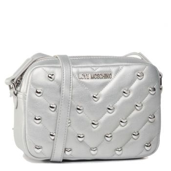 LOVE MOSCHINO - Silver Crossbody Bag with Heart Studs