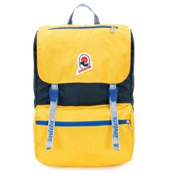INVICTA Jolly Vintage Line - Blue and Yellow Fabric Unisex Backpack