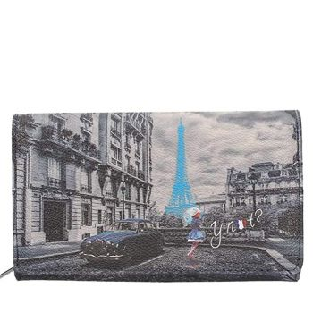 Y NOT K-364 Line – Blue Rain Printed Wallet with Button Closure for Women
