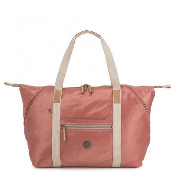 KIPLING Delicate Pink Fabric Woman Travel Bag Art M Line