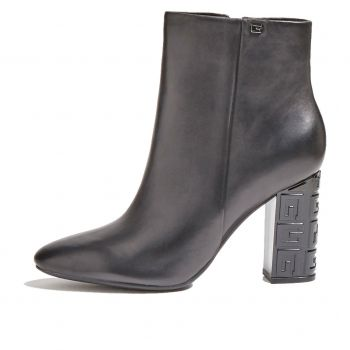 GUESS Lariah Line – Black Leather Ankle Boots For Women
