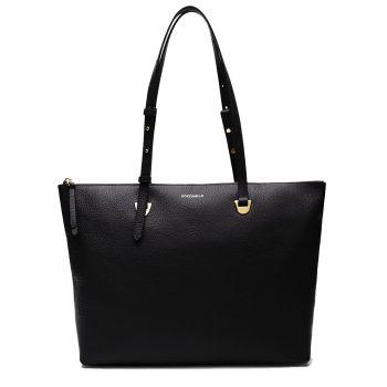 COCCINELLE Lea Line – Black Leather Tote Bag